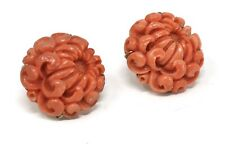 A Fantastic Huge Pair of Vintage Art Deco Style 14ct Gold Carved Coral Earrings