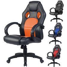 Chaise de bureau confortable hauteur réglable siège de course PU+PVC 4 couleurs