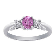 0.40 Carat Oval Cut Pink Sapphire with Round Cut Diamonds 10K White Gold