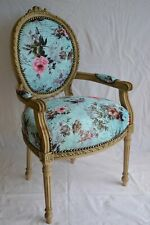 LOUIS XVI ARM CHAIR FRENCH STYLE CHAIR VINTAGE FURNITURE BLUE WITH FLOWERS