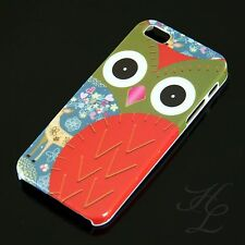 iPhone 5S Hard Handy Case Schutz Hülle Cover Etui Eule Rot Owl Hibou Chouette