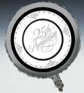 25th Twenty Fifth Silver Wedding Anniversary Party Supplies - 45cm Foil Balloon