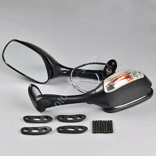 Black Universal Motorcycle Bike Turn Signal Rear View Carbon Fibre Side Mirrors