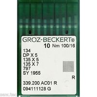 GROZ BECKERT INDUSTRIAL SEWING MACHINE NEEDLES 134R DPX5  SIZE 16/100