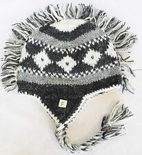 H77 Hand Knitted Mohawk Woolen Hat Cap with Fleece Lining Adult Made In Nepal