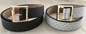 NEW MICHAEL KORS BELT WHITE MK LOGO SIGNATURE SQUARE GOLD BUCKLE WHITE AND BROWN