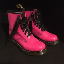 Doc Martens Hot Pink Air Wair Soles 1460 W Patent Leather Ankle Boots EU 39 US 8