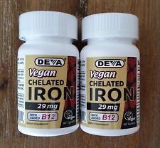 DEVA Vegan Chelated Iron 29 mg with B12 x 180 Tablets (2 x 90 Tabs), Gluten Free