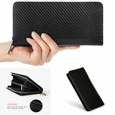Men Carbon Fiber Zipper Long Wallet Business Bag Card Holder Clutch Handbag
