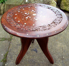 BEAUTIFUL VINTAGE ANGLO/INDIAN FOLDING INLAID WOODEN SIDE TABLE