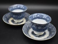 2 Mellor Venables & Co English Staffordshire Windsor 1849 Blue Transferware cups