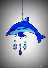 Dolphin suncatcher garden mobile, window bathroom ocean ornament FREE SHIPPING!