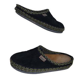 Sorel Size 6 Slippers Black Suede Wool Scuffs Green Gray Trim Slip On Women's