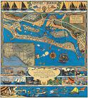Pictorial+Treasure+Map+Newport+Harbor%2C+Ocean+and+Bay+11x12+Wall+Art+Poster+D%C3%A9cor