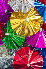 CHRISTMAS DRINK DECORATIONS (ASSORTED  FOIL COCKTAIL UMBRELLAS)x 50