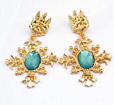 BEAUTIFUL ANTHROPOLOGIE BAROQUE STYLE GOLD LIGHT BLUE CROSS DROP DANGLE EARRINGS
