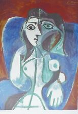 PABLO PICASSO Woman in blue chair plate signed HAND NUMBERED LITHOGRAPH