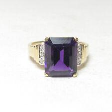 Estate 14K Yellow Gold 4.20 Ct Natural Plum Purple Amethyst And Diamond Ring