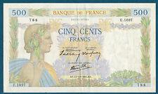FRANCE - 500 FRANCS LA PAIX Fayette n° 32.7 du 17-10-1940.AE. en TTB  U.1037 788