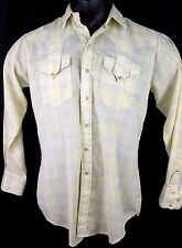 Vintage Rockmount Ranch Wear Western Style Pearl Snap Shirt Yellow Plaid