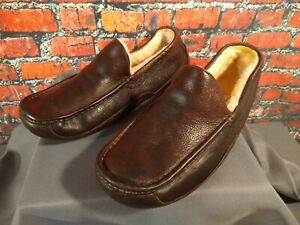 EUC men's UGG ASCOT brown leather SHEEPSKIN LINED slippers - size 13