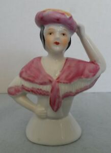 Vintage porcelain half doll-pin cushion doll -figurine with Pink hat and shawl