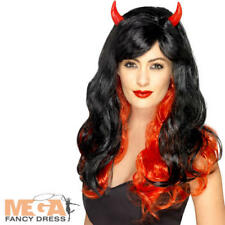 Long Devil Wig Ladies Halloween Fancy Dress Womens Adults Costume Accessory New