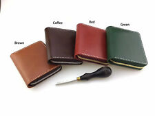 Handmade vetetable tanned leather short wallet with zipper cowhide card case