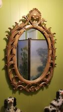 Vintage Heavy Italian Regency Large Carved Light Wood Oval Wall Mirror Shell