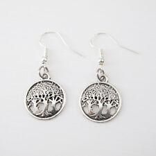 Vintage Silver Alloy Dangle Tree Of Life Celtic Earrings 925 Sterling Hooks NEW