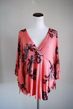 Free People Maui Wowie Coral Floral Flutter Sleeves Side Tie V Neck Blouse Six M
