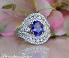Zeitlos edler AAA Tansanit Ring mit Diamanten in Weißgold 750, 3.00 ct. ab 8900€