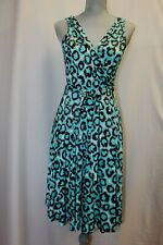 Diane von Furstenberg DVF Lora Turquoise Brown Wrap Silk Dress 8 M