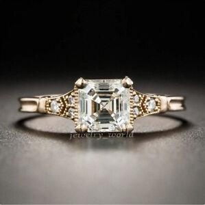 Asscher 1.96 Ct White Moissanite Engagement Vintage Ring Rose Gold Over Art Deco