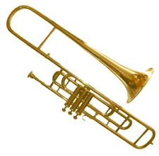 NATURAL BRASS  3-VALVE TENOR TROMBONE FOR TRUMPET CROSSOVER PLAYERS w HARDCASE