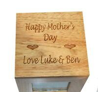 Happy Mother's Day Oak Photo Keepsake Cube Box Picture Gift Album Box