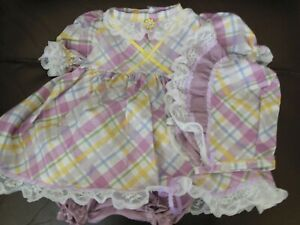 "Hand Made Dress Set Multi-Colored Plaid w/Purple Trim For 20-22"" Doll"