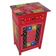 Rajasthan Hand-painted Nightstand-End Table with Drawer