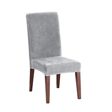 Stretch Plush Short Dining Room Chair Slipcover Sure Fit  Gray