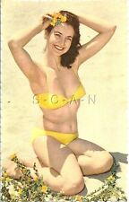 Original 50s-60s Semi Nude French Pinup PC- Places Flower in Hair- Yellow Bikini
