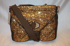 NEW! ALEXIS HUDSON Bronze Sequin Leather ARLENE Large Satchel Xbody Bag $328