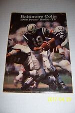 1968 BALTIMORE COLTS Yearbook MEDIA GUIDE / YEARBOOK 100 Pages JOHNNY UNITAS