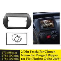 Double Din Radio Fascia for Citroen Nemo Peugeot Bipper Fiat Fiorino Qubo 2008+