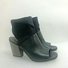 Coclico Black Leather Shoes Booties Open Toe Block Heel Size 38.5 Made in Spain