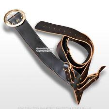 Black Leather Medieval Baldric Sword Belt Right Handed Waist Hanger Frog LARP