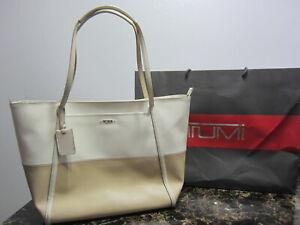 Tumi Leather Tote - Two Toned - White Tumi Limt Edition