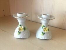Vintage pair of White with yellow flowers Porcelain Norleans Japan Candle holder