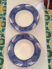 Myott Son Co Blue Transferware Pr Rimmed Soup Bowls Cottage England Countryside