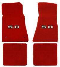 New 1979-1993 Mustang floor mats Red with 5.0 5L Embroidered Logo Front and Rear