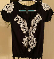 INC International Concepts Ruffled Sleeve Embroidered Blouse Black SZ XS